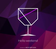 Design features a minimalist cocktail illustration made from geometric and polygonal shapes. It also includes colorful details and text that says hello