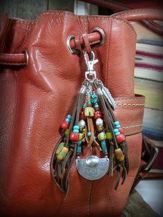 Tribal Bohemian Purse Beaded Tassel Clip,   by StoneWearDesigns