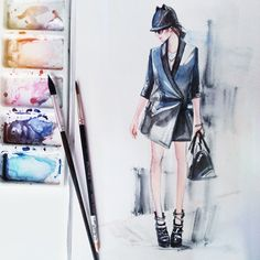 #jadorefashion by #illustrator Tatiana Malikova #watercolor #fashion #illustration