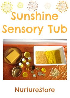 Love this for midsummer messy play : a sunshine sensory tub. Fun to make for the solstice!