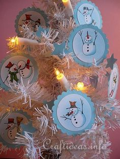 Paper Snowman Garland for Christmas Tree
