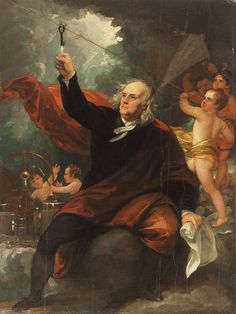 """Benjamin Franklin Drawing Electricity from the Sky,"""" c. 1816, by Benjamin West"""