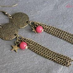 Boucles d'oreilles rosace et etoiles métal bronze les lily's