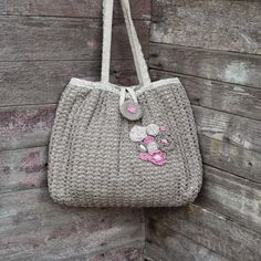 floral crochet bag grey pink bag floral shoulder bag grey tote bag linen bag yarn bag floral linen handbag crocheted tote bag free shipping - pinned by pin4etsy.com