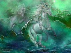 Mixed Media - Unicorns Of The Sea by Carol Cavalaris