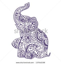 Invitation vintage card with elephant - stock vector