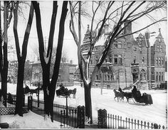 Sherbrooke Street in winter, Montréal, QC, 1896 Old Montreal, Montreal Ville, Montreal Quebec, Quebec City, Old Pictures, Old Photos, Snow Pictures, Photo Vintage, Vintage Photos