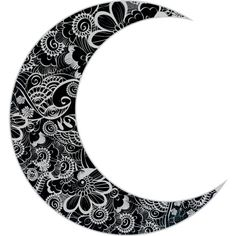 Floral Crescent Moon ❤ liked on Polyvore featuring filler