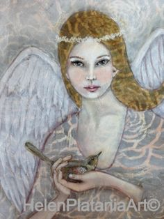 'To Have & To Hold' Mixed Media Art prints avail  #Angel #wings #bird #girl #pretty #wedding #religious #art