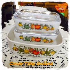 Vintage Europal, made in England Spice of Life pattern #spiceoflife #fridgies #corningware #europal #ovenproof
