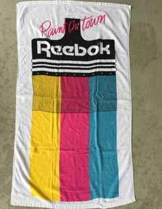 "Vintage Reebok Beach Swim Pool Towel ""Paint the Town"" 1990s Sherry Terrycloth"