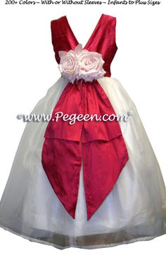 Lipstick Pink and New Ivory Custom Flower Girl Dresses with Pink Flower and V-Back Style 313 Red Flower Girl Dresses, Little Girl Dresses, Girls Dresses, Flower Girls, Girls Holiday Dresses, Red Wedding, Wedding Stuff, Custom Dresses, Costume Dress