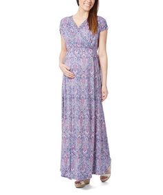 This Navy & Pink Paisley Cap-Sleeve Maternity Maxi Dress - Plus Too is perfect! #zulilyfinds