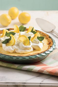 Impress your guests or family with the goodness of classic lemon icebox pie. This recipe features from-scratch buttery crust, lemony-rich baked filling, and homemade whipped cream.  Recipe:Zesty Lemon Pie