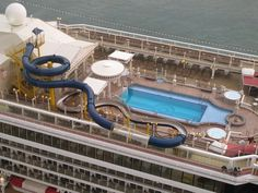 Top deck view of star cruise Virgo where swimming pool is located