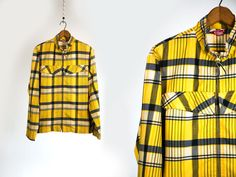 Vintage Vtg 1960's 60's 1970's Checkered Light Weight Yellow Plaid Metal Zip Up Summer Jacket Retro Hipster Mod Men's Women's Silton CA Med by thiefislandvintage on Etsy