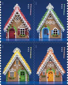 timbre de correo navideño ...ginger bread decorated houses