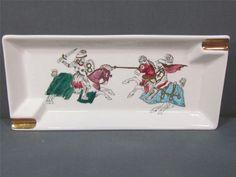 Vintage Lefton Ashtray With Jousting Knights Gold Trim Lefton Japan #2388