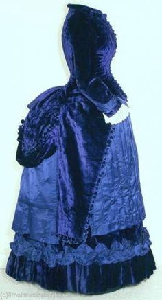 This is EXACTLY the jacket bottom I plan to do for my costume :) Circa 1885 Velvet and Satin Bustle.