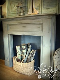 DIY Projects Mimi's Faux Mantle Woodworking Plans by Ana White Faux Mantle, Faux Fireplace Mantels, Fireplace Surrounds, Diy Mantel, Distressed Mantle, Mantel Shelf, Brick Fireplace, Primitive Fireplace, White Mantle