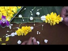 มาลัยตุ้มดอกพุด46/62 - YouTube Floral Garland, Flower Garlands, Diwali Decorations, Flower Decorations, How To Make Garland, Garland Making, Banana Leaf Thai, Laos Wedding, Wedding Colors