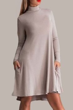 Casual Stand Collar Solid Color Long Sleeve Pleated Mini Dress For Women