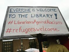 Swedish librarians at a rally for the support for refugees from Syria