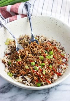 Shredded slow cooker balsamic soy chicken is so easy to make, and makes a versatile protein for salads, sandwiches, rice bowls, tacos, and more. Peanut butter and balsamic vinegar add a special touch to a flavorful and not-too-spicy sauce for a healthy and satisfying dinner recipe.