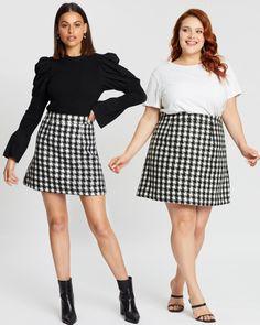 Reign Wool Blend Mini Skirt by Dazie Online | THE ICONIC | Australia Plaid Skirts, Mini Skirts, Iconic Australia, Tartan Plaid, Houndstooth, Reign, Wool Blend, Black And White, Dusk