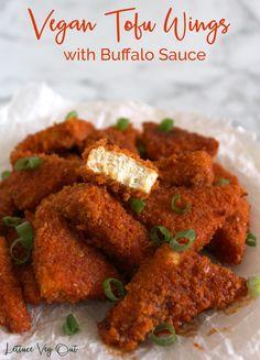 Vegan Entree Recipes, Vegetarian Appetizers, Appetizer Recipes, Cooking Recipes, Healthy Tofu Recipes, Simple Vegetarian Recipes, Tofu Dinner Recipes, Vegan Buffalo Sauce, Buffalo Tofu