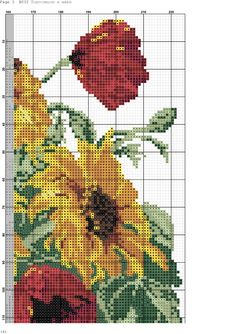 Fotos de la comunidad Cross Stitch Rose, Cross Stitch Flowers, Counted Cross Stitch Patterns, Cross Stitch Designs, Beaded Embroidery, Cross Stitch Embroidery, Flower Designs, Diy And Crafts, Photo Wall