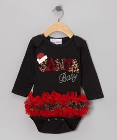 Take a look at this Black 'Santa Baby' Long-Sleeve Ruffle Bodysuit - Infant by The Princess and the Prince on #zulily today!