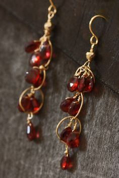 These statement earrings are made with stunning AAA Garnet stones and 14k gold wire. They are perfect for valentines day! I love to customize