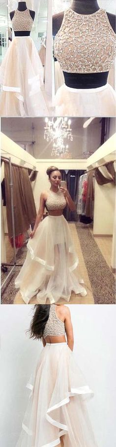 2 Piece Champagne Prom Dresses 2015 Ball Gowns High Neckline Silver Beads Long Evening Gowns from angeldress Pretty Dresses, Sexy Dresses, Beautiful Dresses, Formal Dresses, Long Dresses, Long Gowns, 2 Piece Prom Dress, Dress Prom, Dress Lace