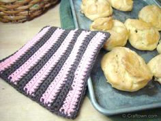 Free Crochet Pattern - Striped Hot Pad