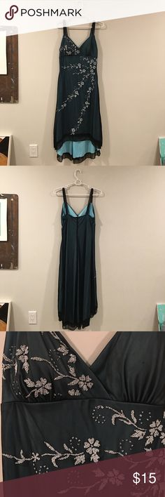 Formal Beaded Dress Blue/green beaded dress. Size large. Hi-low hem. Few signs of wear. Anymore questions just ask! Ruby Rox Dresses High Low