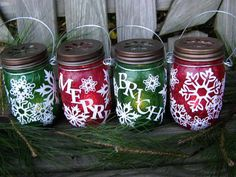 Four Christmas Mason Jar Hanging Lanterns Red and Green Merry and Bright Snowflakes  by organicmountainwoman on etsy