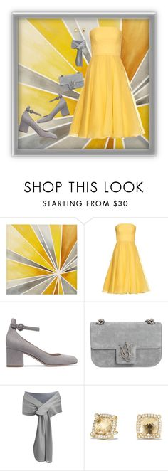 """""""Yellow Gown In A Vacuum"""" by onesweetthing ❤ liked on Polyvore featuring Intelligent Design, Alexander McQueen, Gianvito Rossi and David Yurman"""