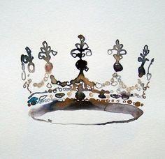 girls_of_great_britain_crown by Bridget Davies Crown Painting, Crown Drawing, Bee Painting, Watercolor Painting Techniques, Watercolor Paintings, Crown Art, Trending Art, Prophetic Art, Art Background