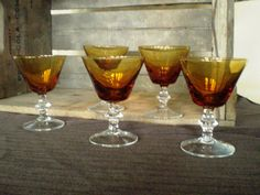 Amber Cocktail Glasses with Clear Stem - set of 5 classic look for any gentleman's bar
