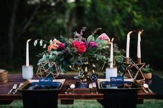 romantic candlelight tablescape for an outdoor wedding. #rusticdetails #centerpiece