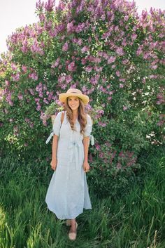 Gal Meets Glam Lilac Season - Reformation dress, Market backpack, Sezane flats & Hat from Lily Charleston