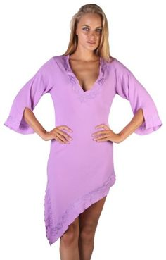 Asymetrical Long Sleeve Crinkle Coverup with embroidery in several summer colors