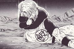 Mirai Trunks - Next to Vegeta's and Piccolo's sacrifice, this was another sad moment in Dbz. If it wasn't for Gohan sacrificing his life, Trunks would have died as well in the same fight... unless the androids let him live to be tortured more... still a painful and sad moment to see in dbz.
