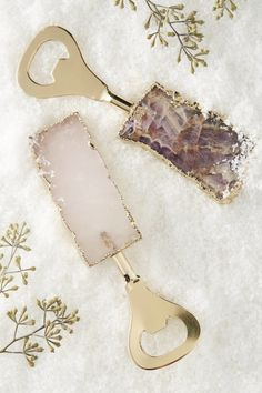 Stunning rose gold & amethyst agate bottle openers for the classy beer drinker.   32 Gifts That Are Prettier Than You