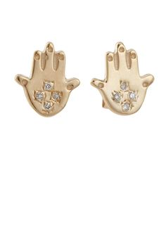 Bianca Pratt Diamond Hand of Fatima Stud Earrings, $745;