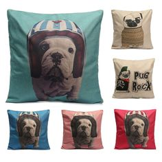 Vinatge Pug Throw Cover Cotton Linen Pillow Case Cartoon Animal Printed Lovely Pet Dog Cat Pillowcase Home Textile #Affiliate