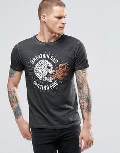 Replay Skull Logo Print T-Shirt in Washed Black.