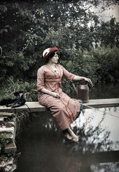Fishing, autochrome photo, 1910's (Love this photo. Barefoot but dressed up, even wearing her hat. Wonderful.)