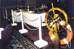 The ships wheel is a great prop for a nautical theme party, a pirate party or cruise party. Cruise Theme Parties, Cruise Ship Party, Car Themed Parties, Titanic Prom, Cheer Banquet, End Of Year Party, Prom Themes, Gym Decor, Love Boat